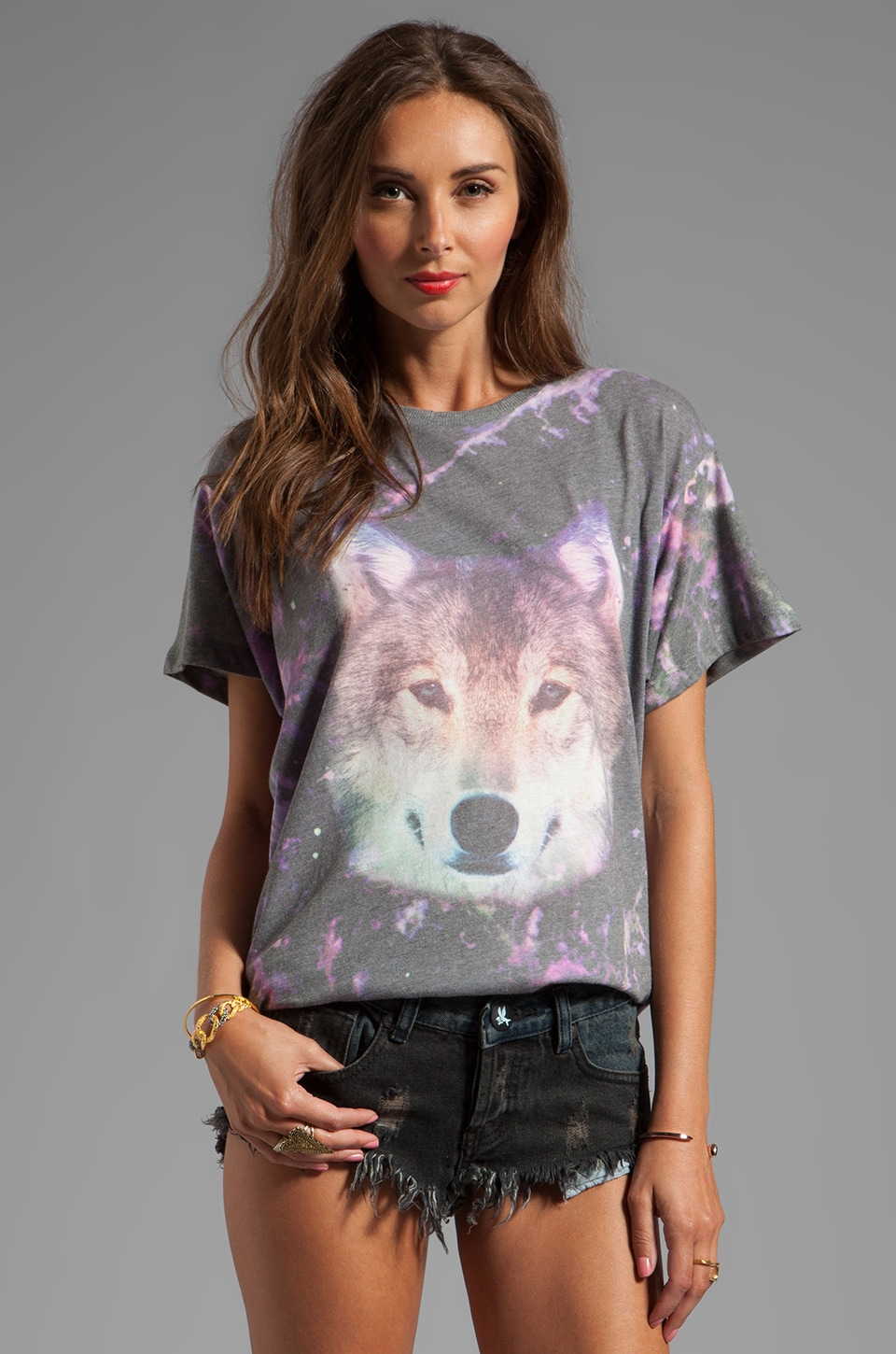 Wildfox Couture Night Wolf Oversized Tee in Multi