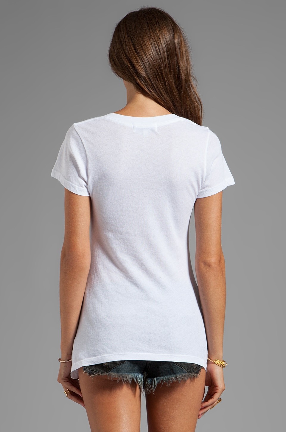 Wildfox Couture Bright Wing Bird Classic V-Neck Tee in Clean White