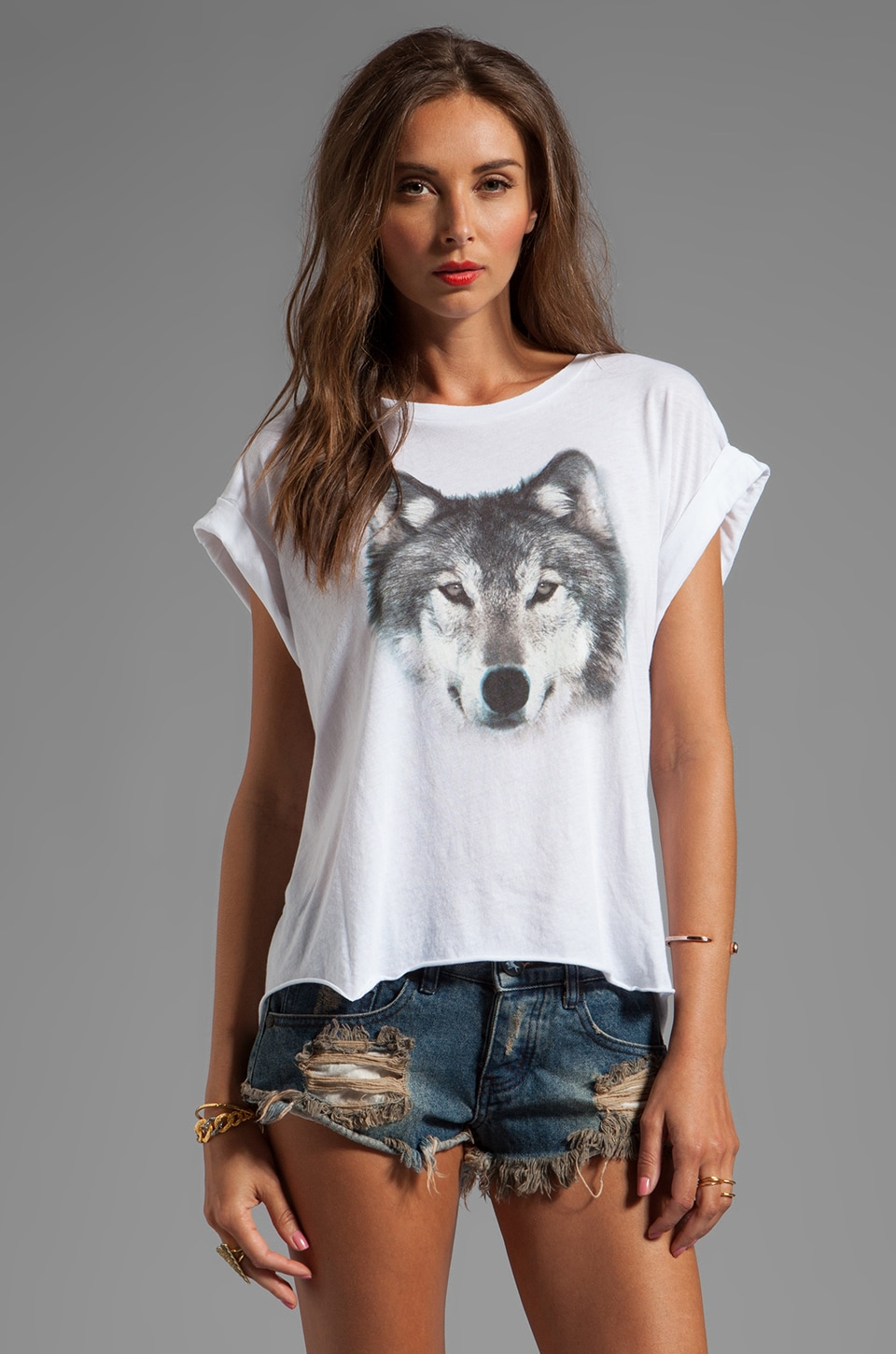 Wildfox Couture Grey Wolf Jagged Edge Tee in Clean White