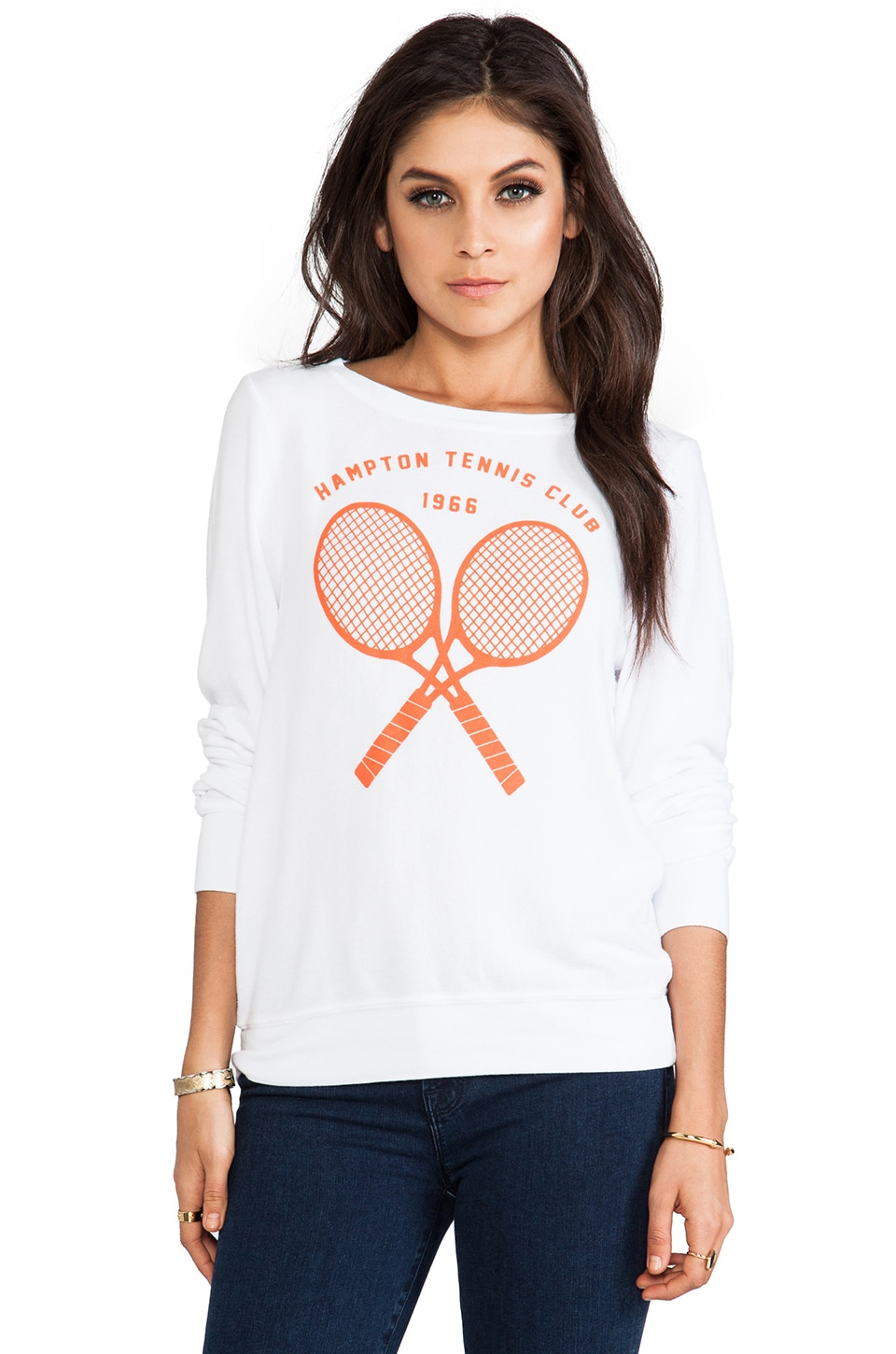 Wildfox Couture Tennis Club '66 Baggy Beach Jumper in Clean White