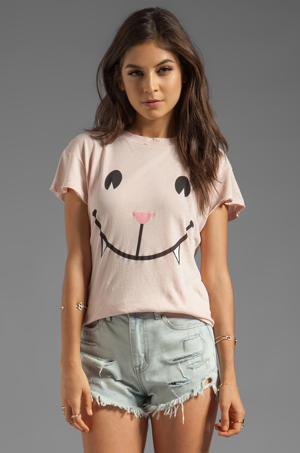 Wildfox Couture Naughty Cat Face Desert Crew Neck in Baby