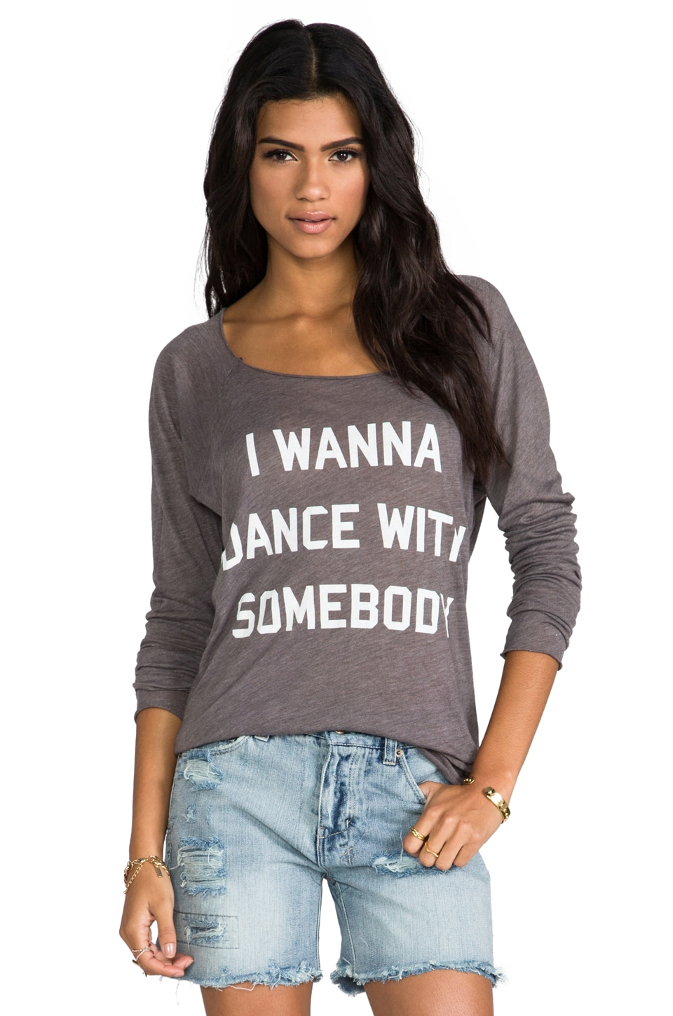 Wildfox Couture Dance with Somebody Long Sleeve Raglan in Firestone
