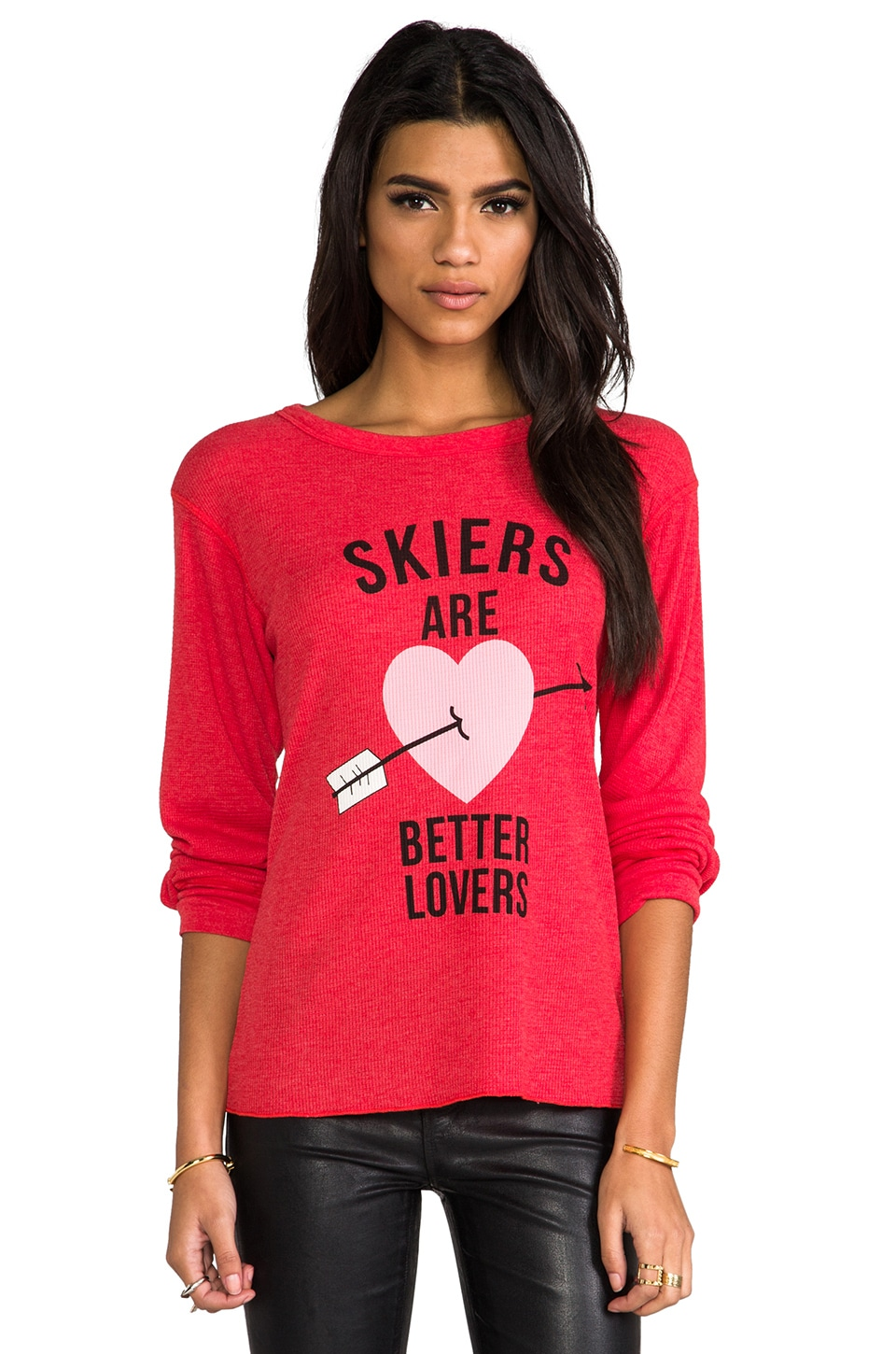 Wildfox Couture Skiers Are Better Lovers Thermal Long Sleeve in Holiday