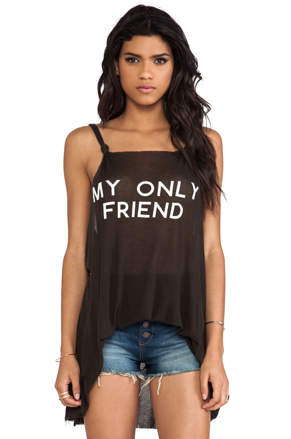 Wildfox Couture Wilson Shipwrecked Tank in Dirty Black