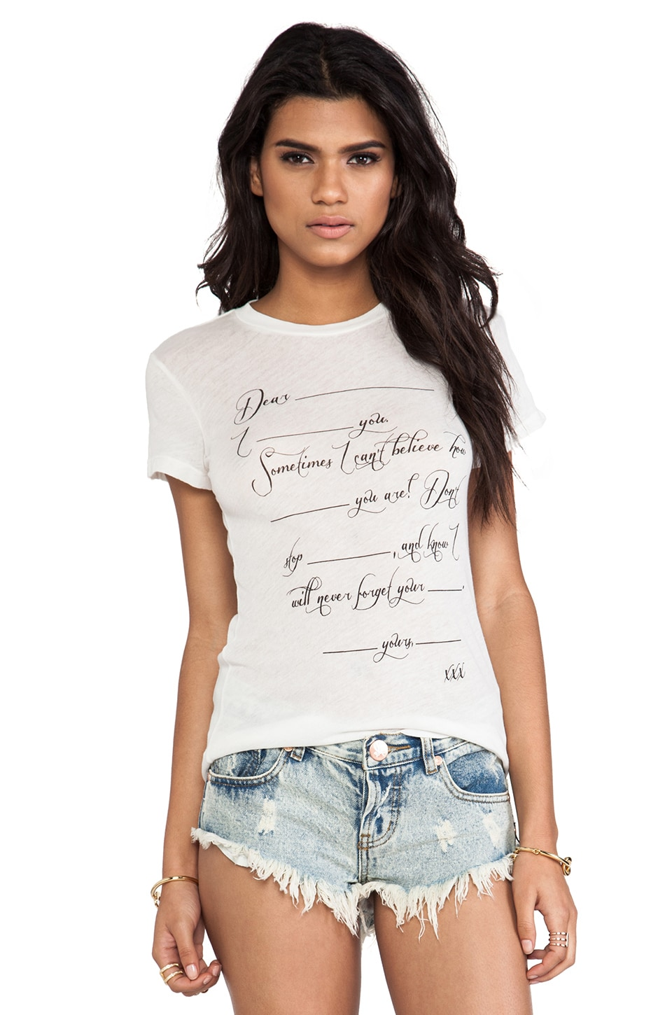Wildfox Couture Love Letter Tee in Vintage Lace