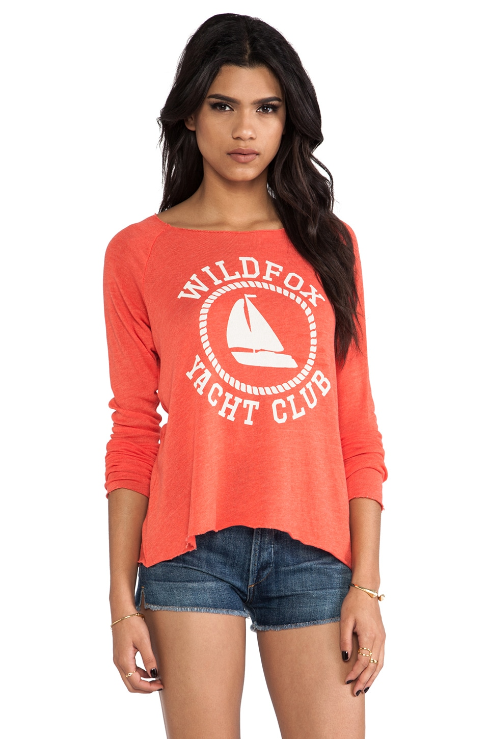 Wildfox Couture Sail On Cozy Raglan in Lifeguard