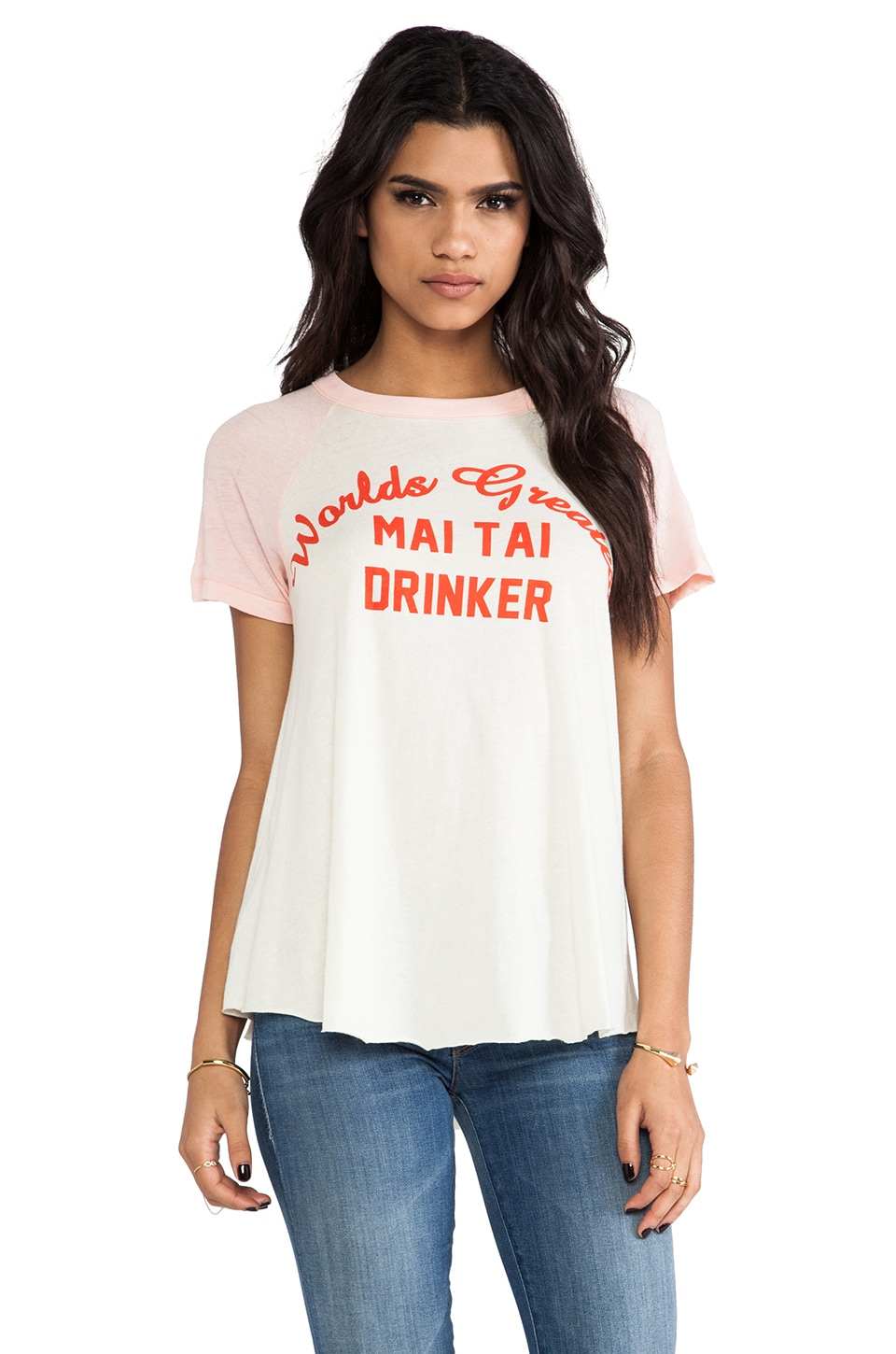 Wildfox Couture Mai Tai Drinker Retro Raglan in Peaches & Vintage Lace