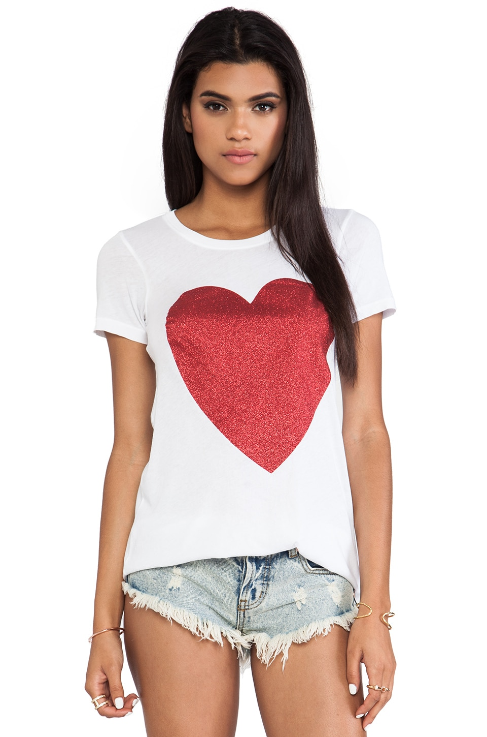Wildfox Couture Sparkle Heart Classic Crew in Clean White