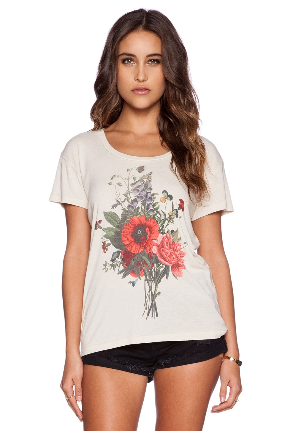 Wildfox Couture Wild Flowers Tee in Pale Moon