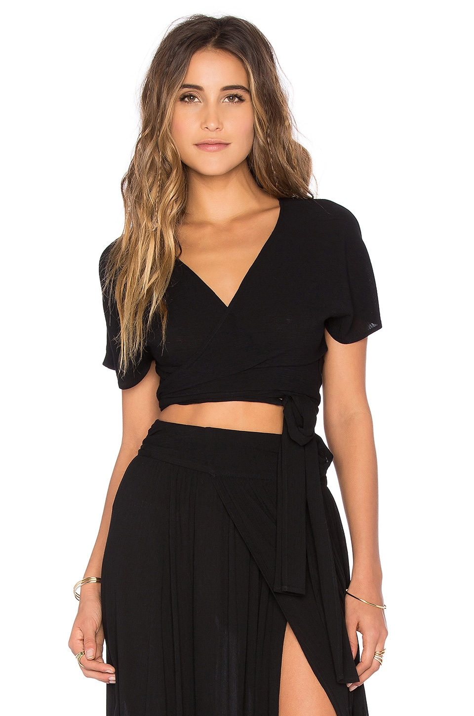 Wildfox Couture Short Sleeve Wrap Top in Black