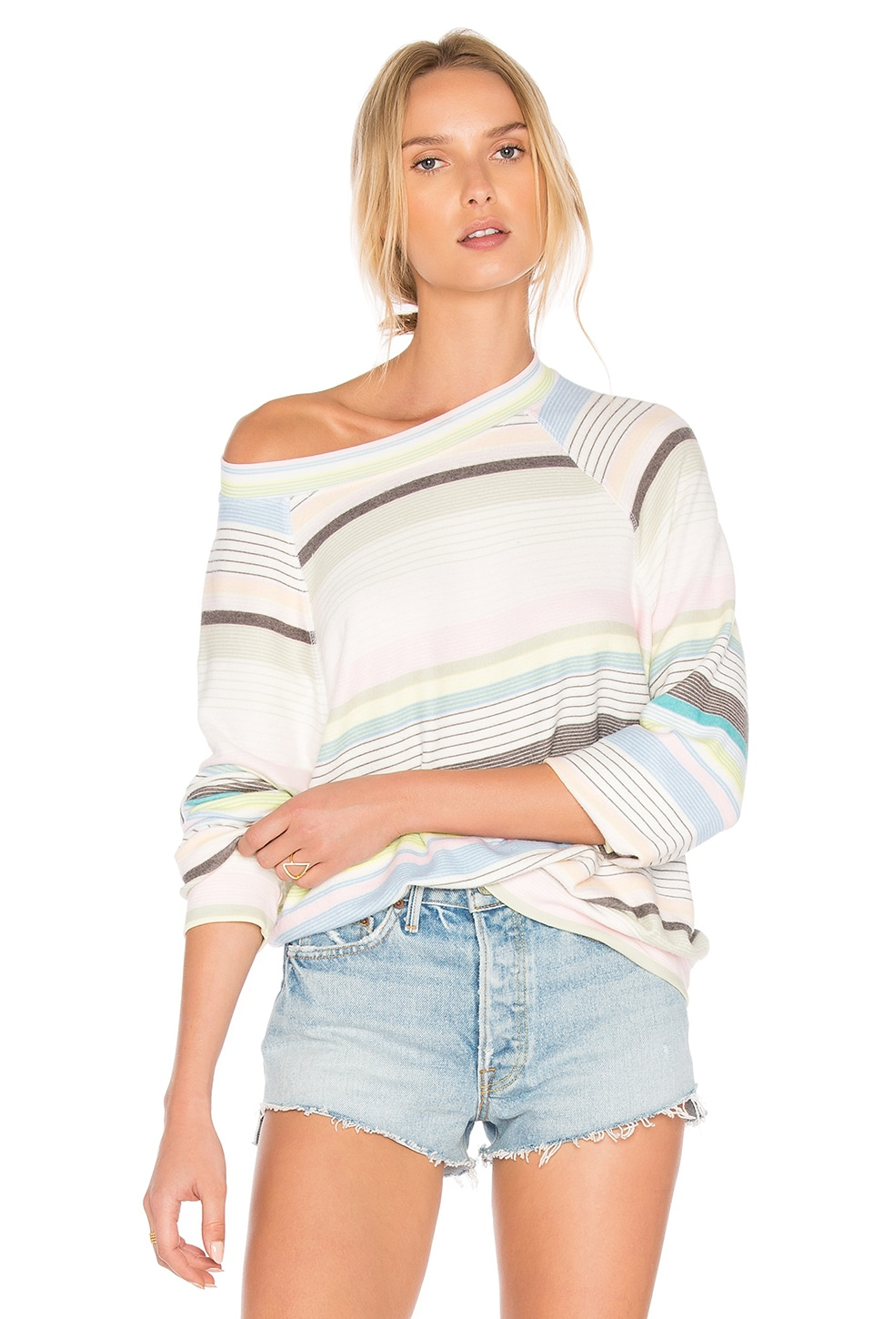 Wildfox Couture Beach Towel Stripes Top in Multi Colored