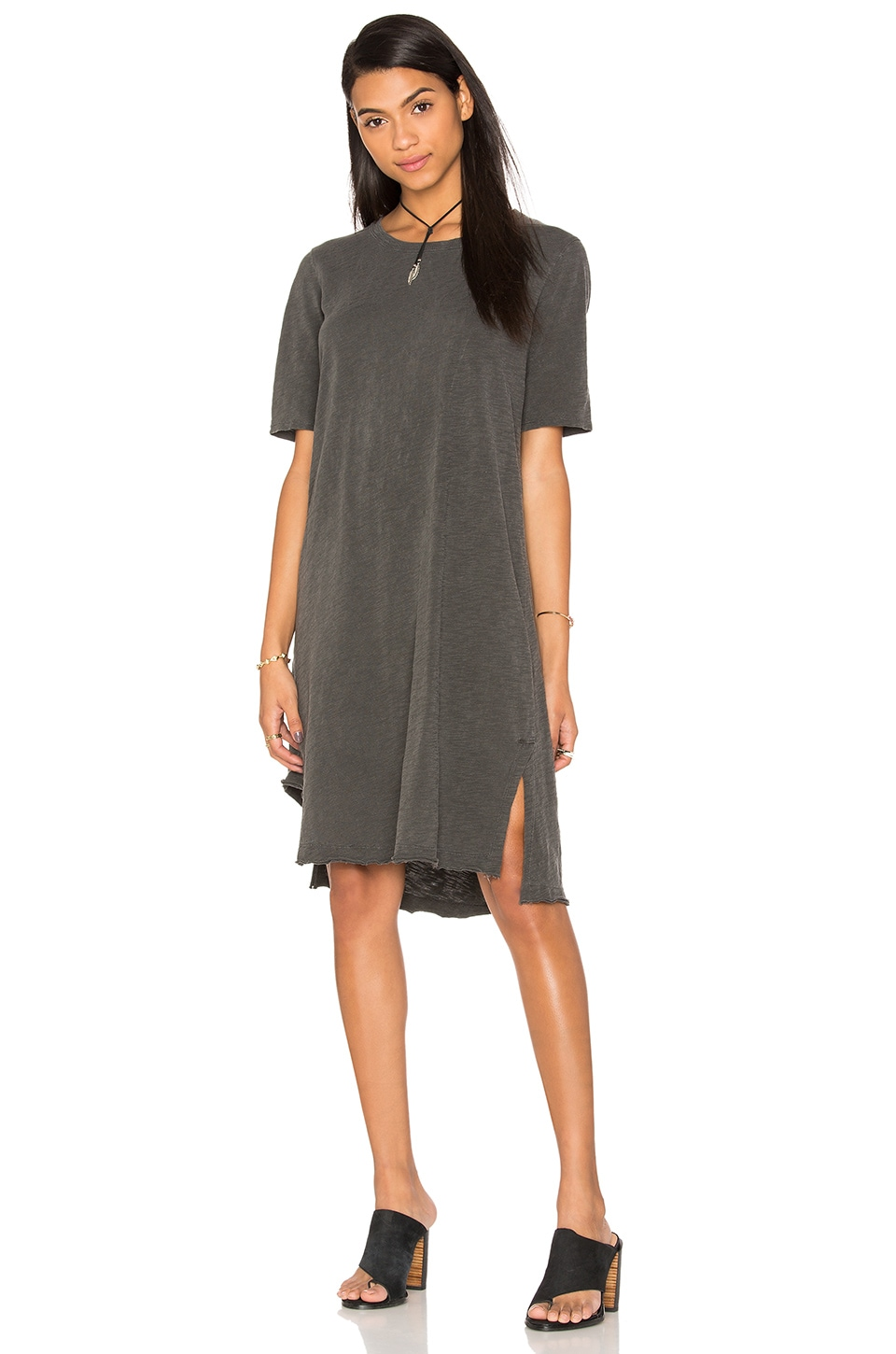 Wilt Slub Short Sleeve Cutout Hem Tee Dress in Distressed Black