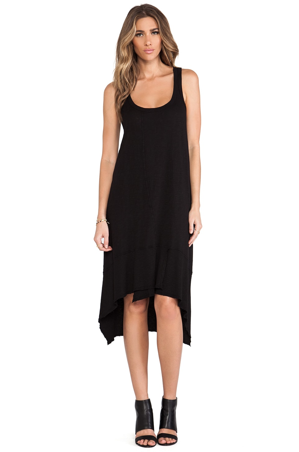 Wilt Slub Jersey Twisted Tank Dress in Standard Black