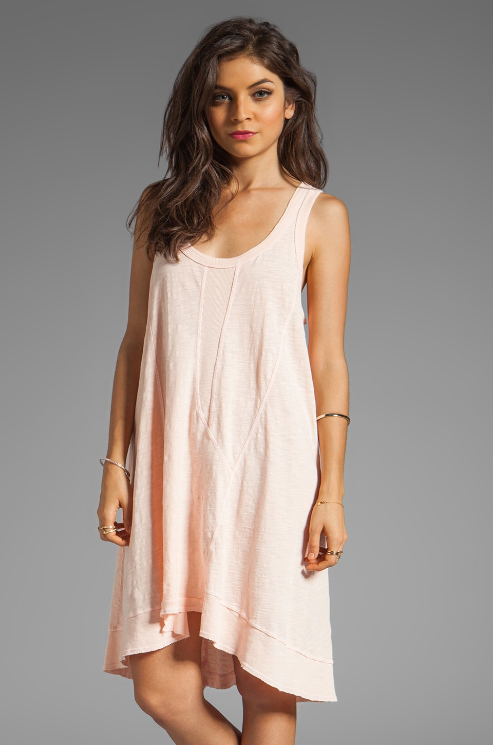 Wilt Mixed Panel Tank Dress in Clay