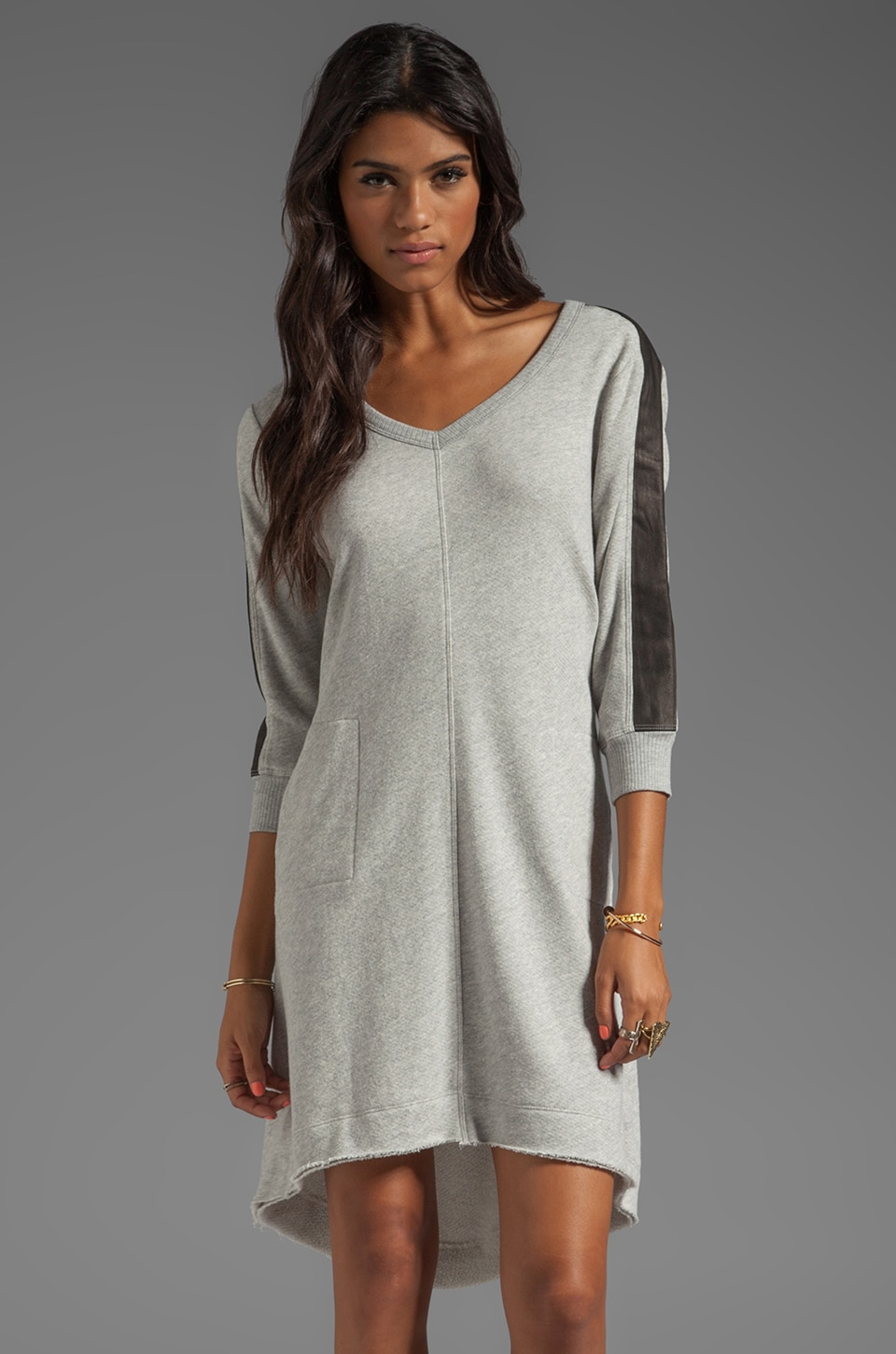 Wilt Vintage French Terry Leather Mix Dress in Grey Heather/Black
