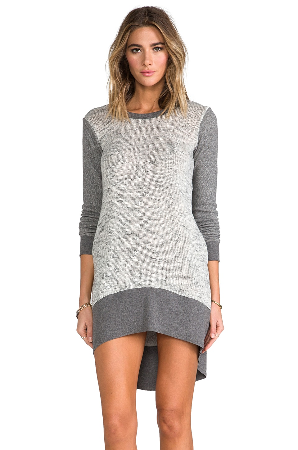 Wilt Long Sleeve Hi Lo Mixed Sweater Dress in Grey Heather