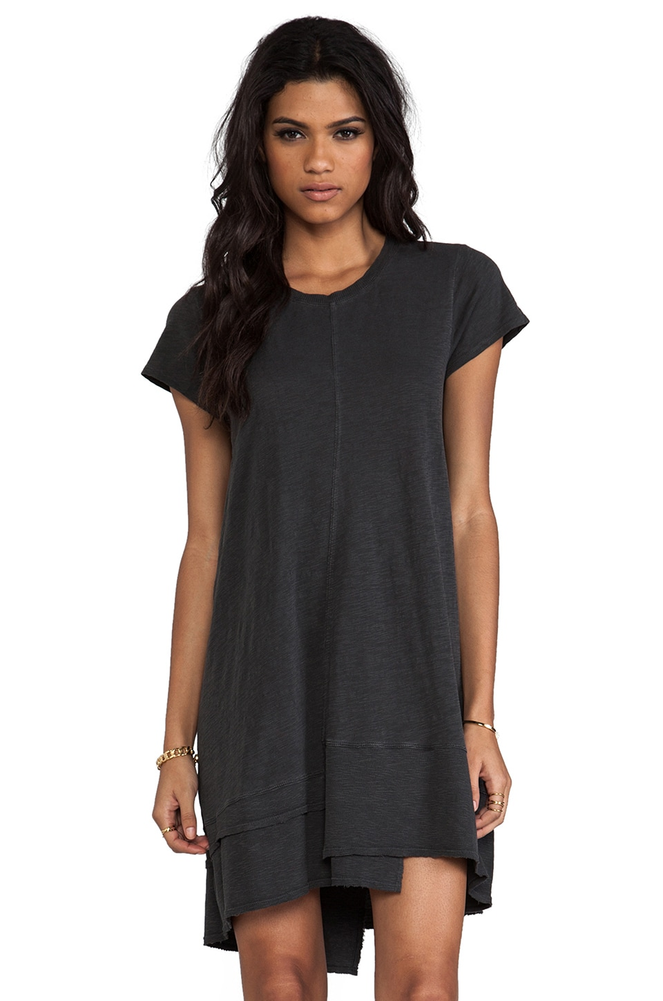 Wilt Twisted Seam Rib Mix Dress in Vintage Black