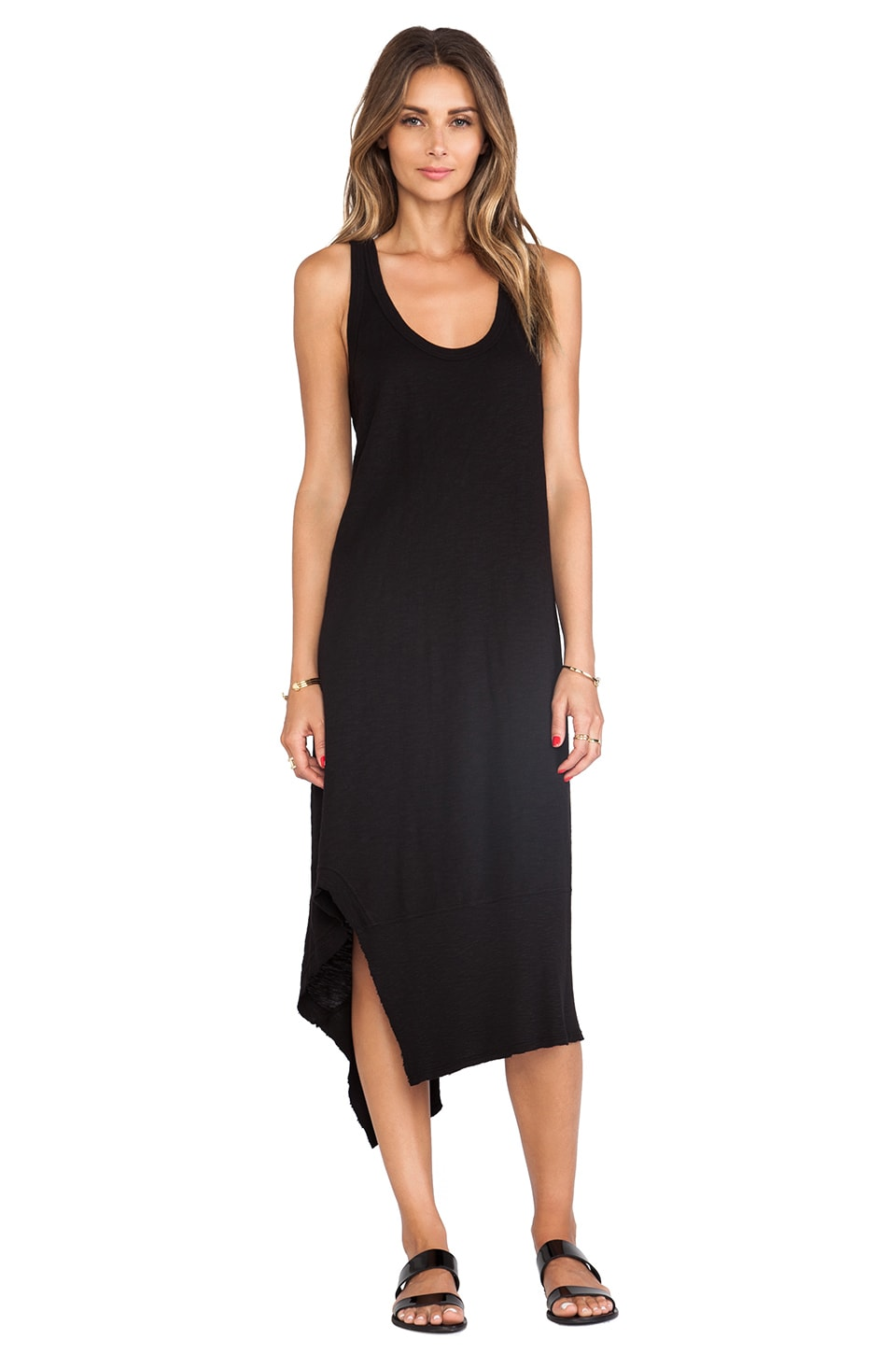Wilt Slub Mix Tank Dress in Black
