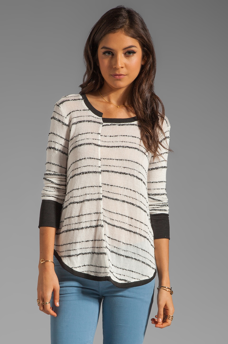 Wilt Broken Stripe Split Shirttail Sweater in Cream