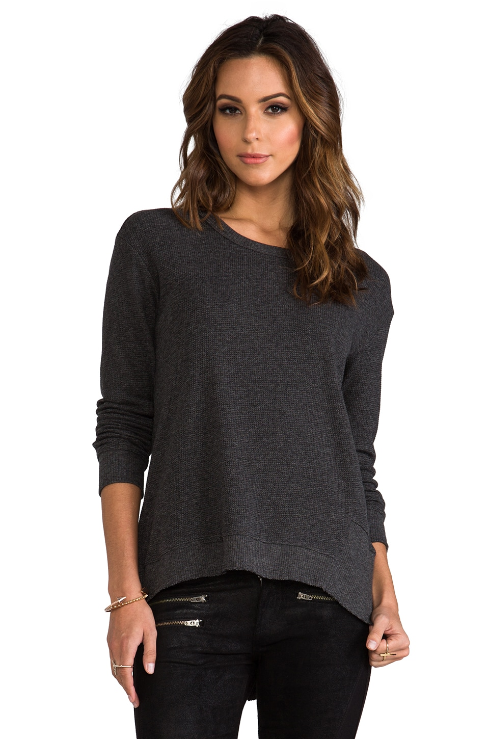 Wilt Long Sleeve Mixed Backslant in Solid Charcoal