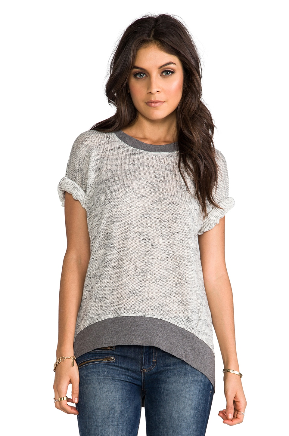 Wilt Big Dolman Elbow Sleeve Top in Grey Heather