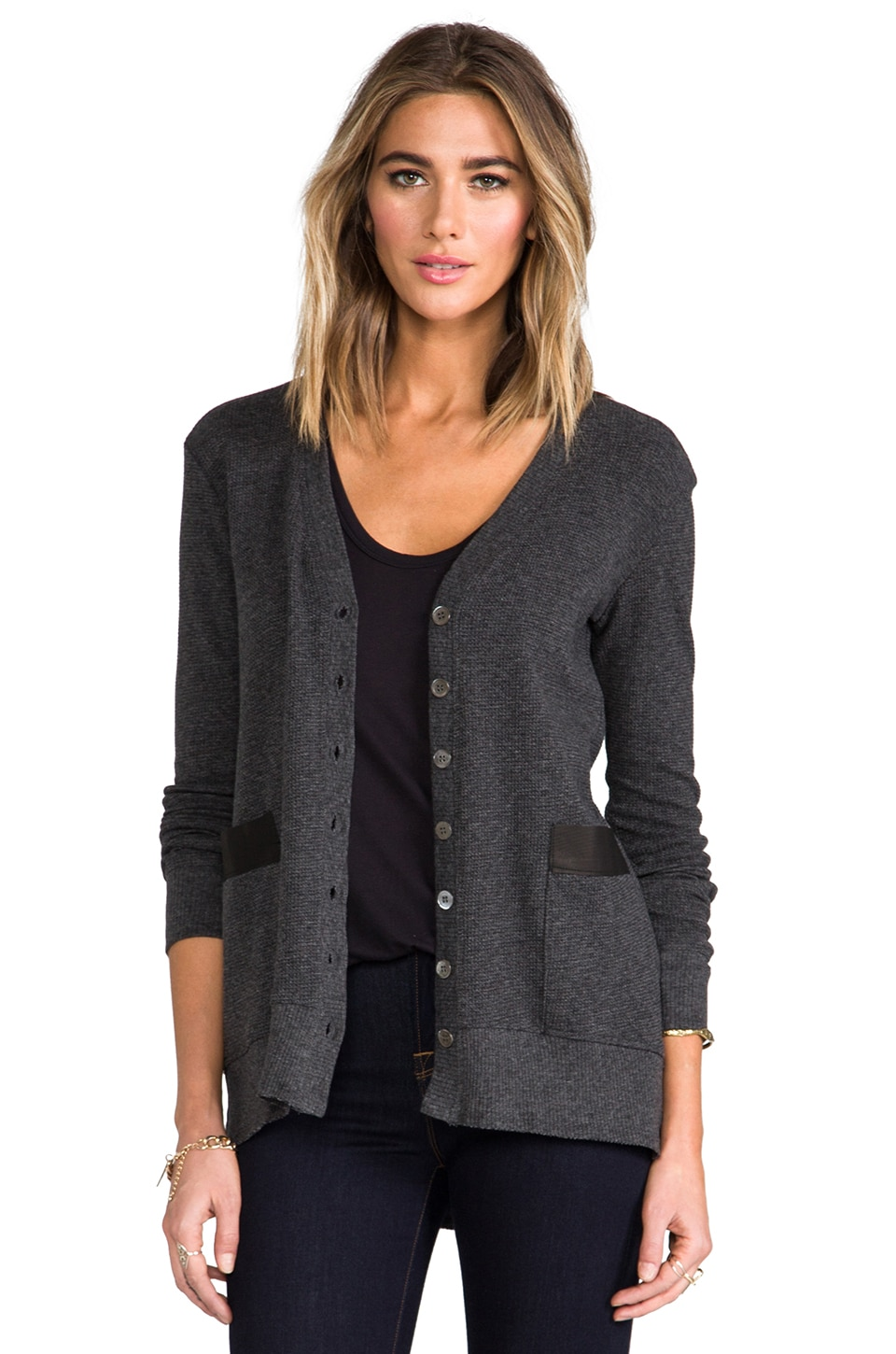 Wilt Leather Mix Cardi in Charcoal Solid