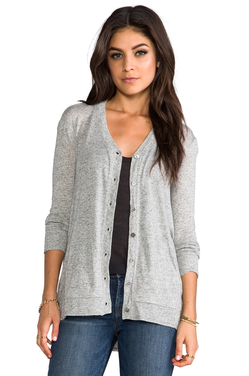 Wilt Slouchy Hi/Lo Cardie in Grey Heather Solid