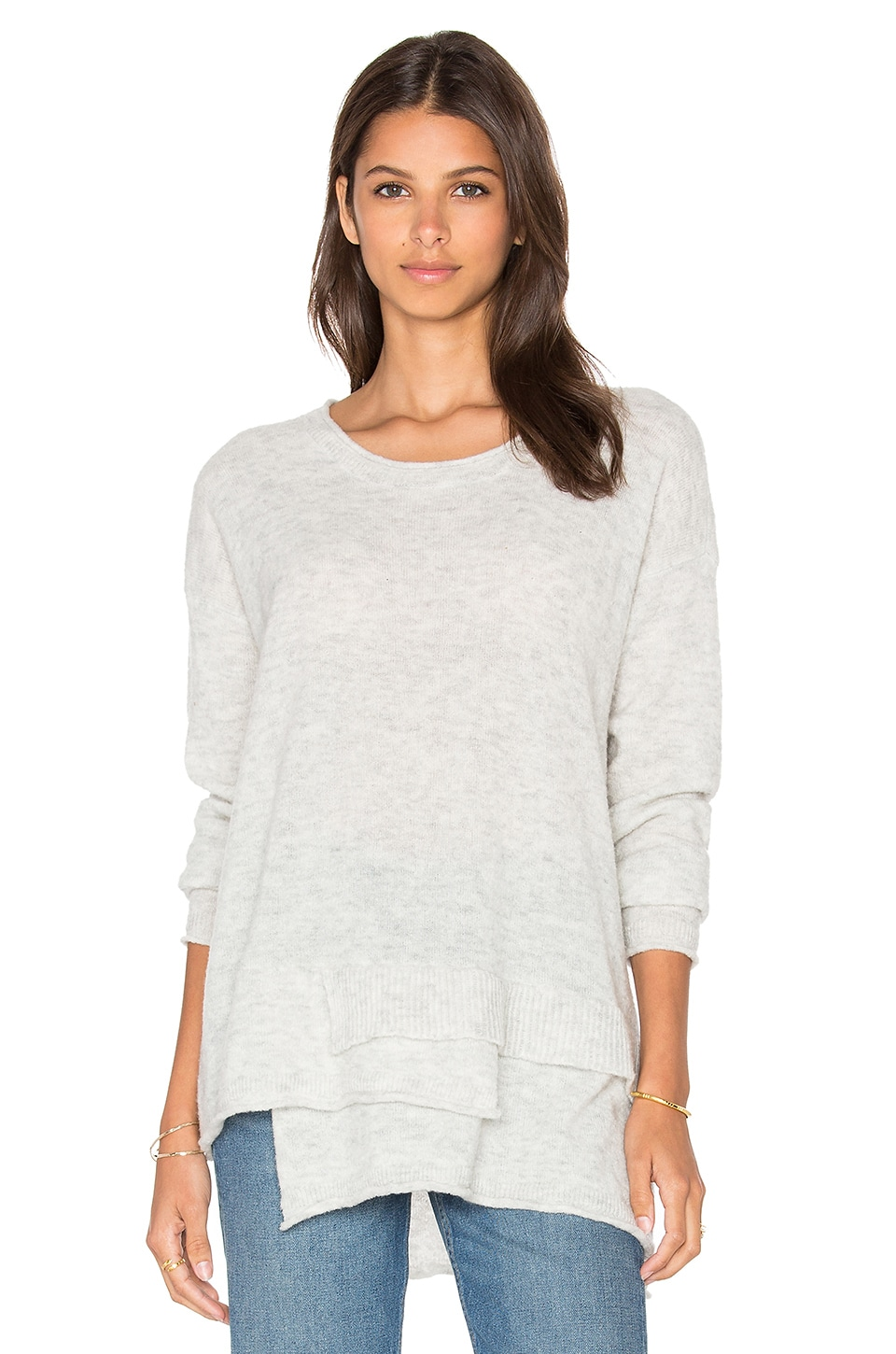 Wilt Mock Layered Sweater in Grey Heather