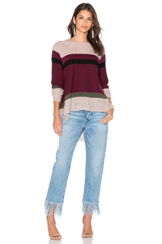 Wilt Blocked Stripe Shifted Sweater in Maroon Combo