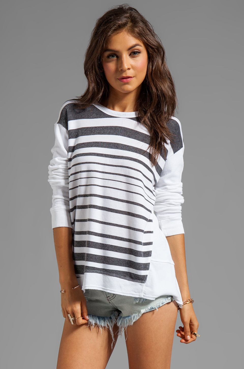 Wilt Fractured Stripe Back Slant Sweatshirt in White