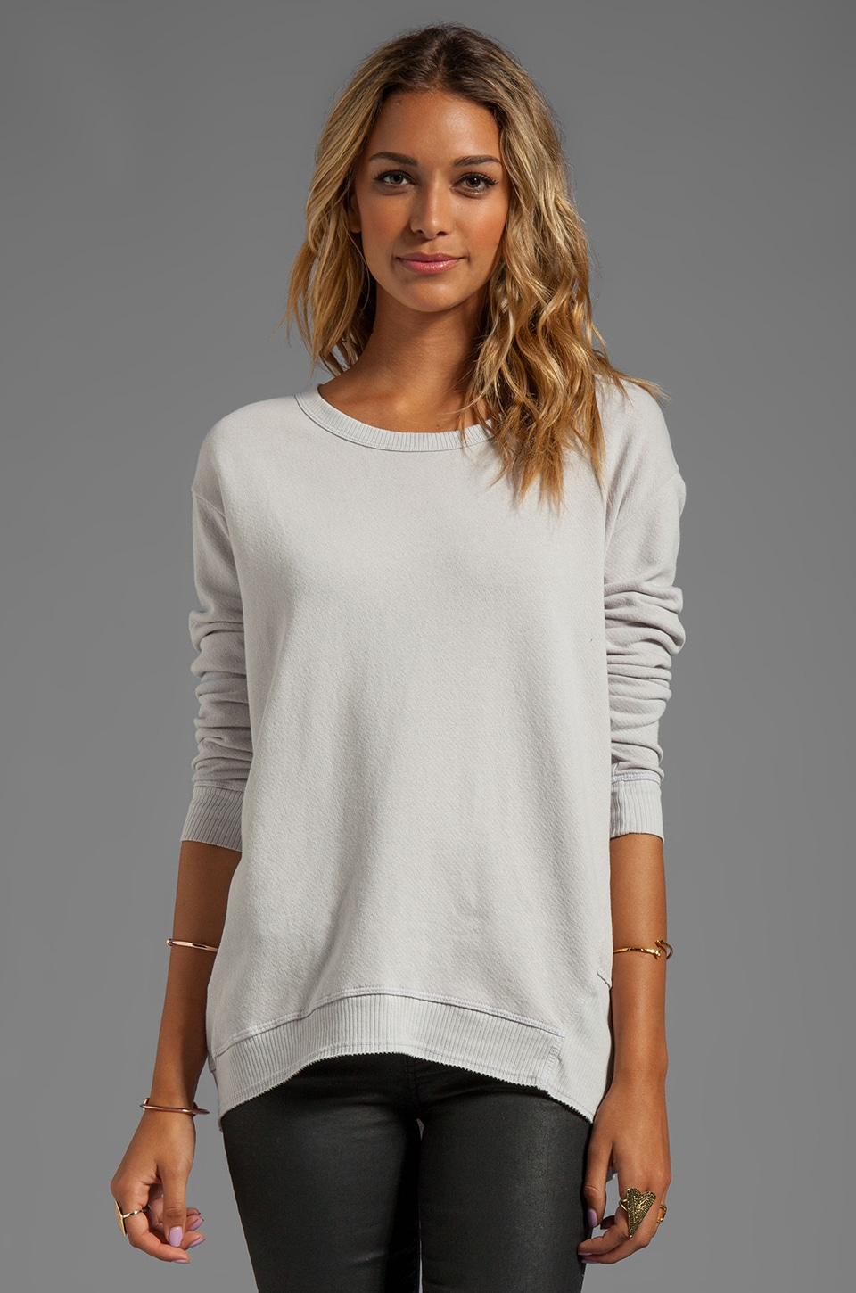 Wilt Vintage French Terry Back Slant Sweatshirt in Dove