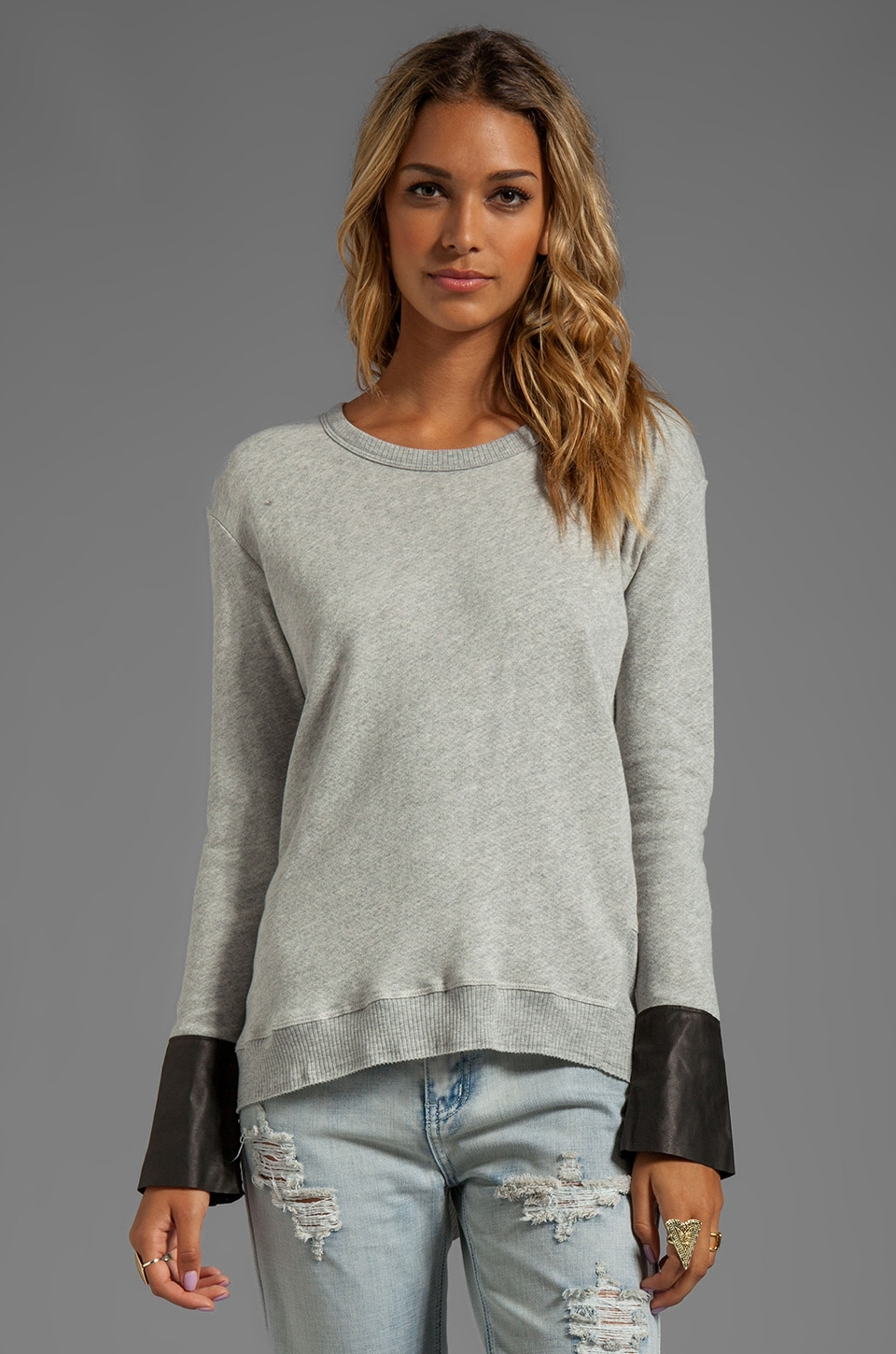 Wilt Vintage French Terry Leather Mix Sweatshirt in Grey Heather/Black Leather