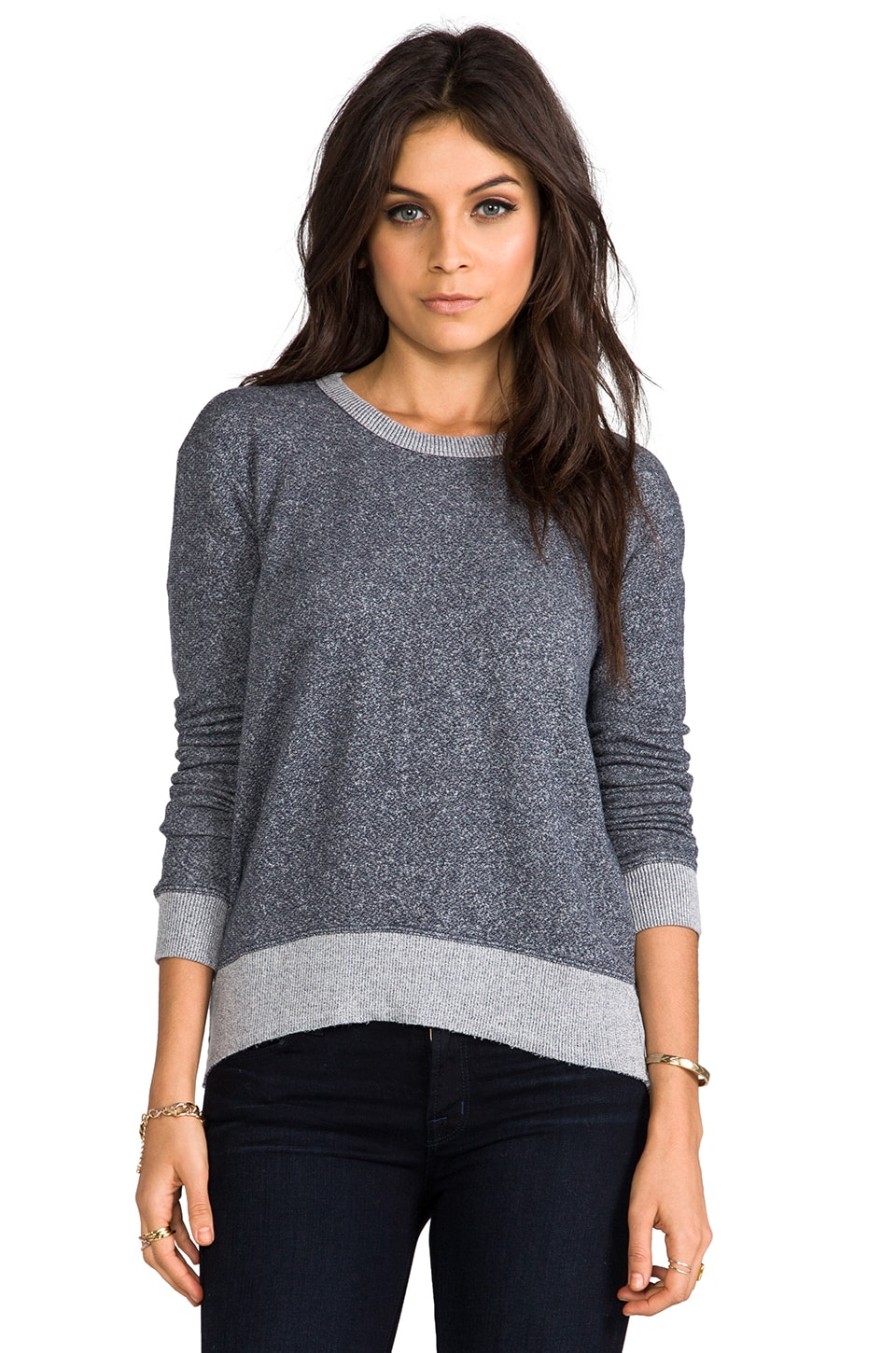 Wilt French Terry Shrunken Hi/Lo Sweatshirt in Blueberry Heather