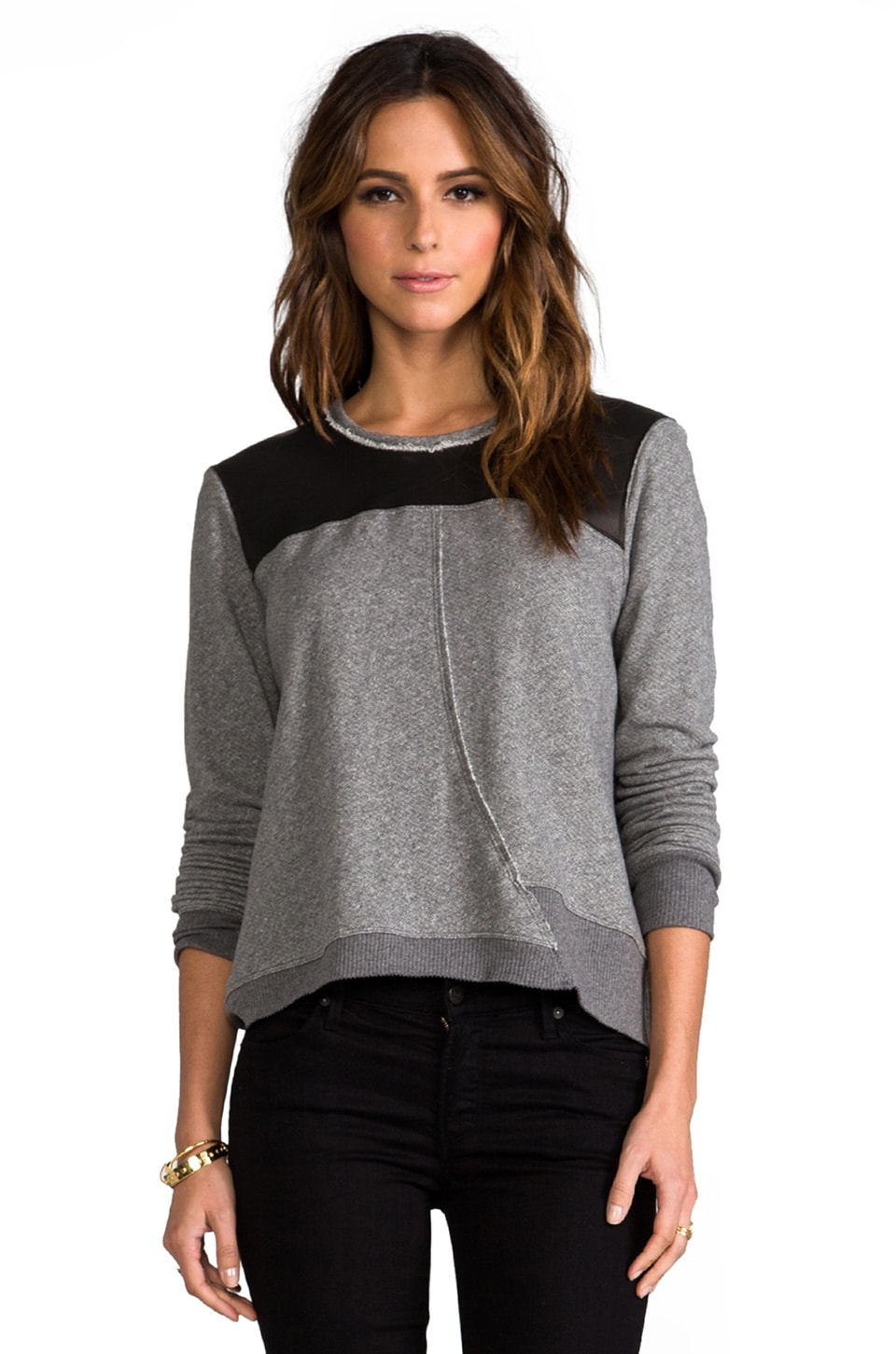 Wilt Crop Raw Twist Leather Mix Sweatshirt in Charcoal/Black