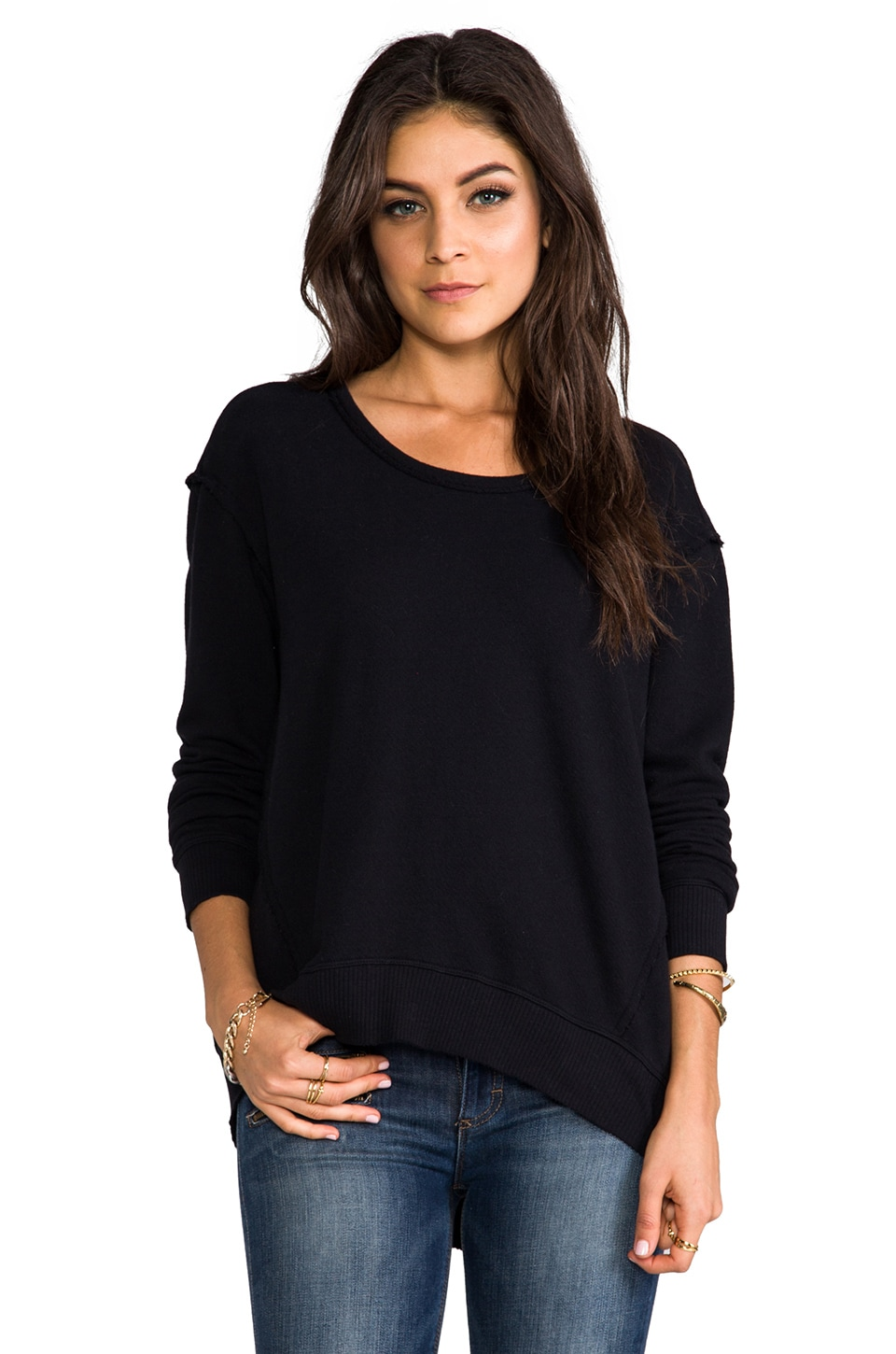 Wilt Raw Big Backslant Sweatshirt in Black