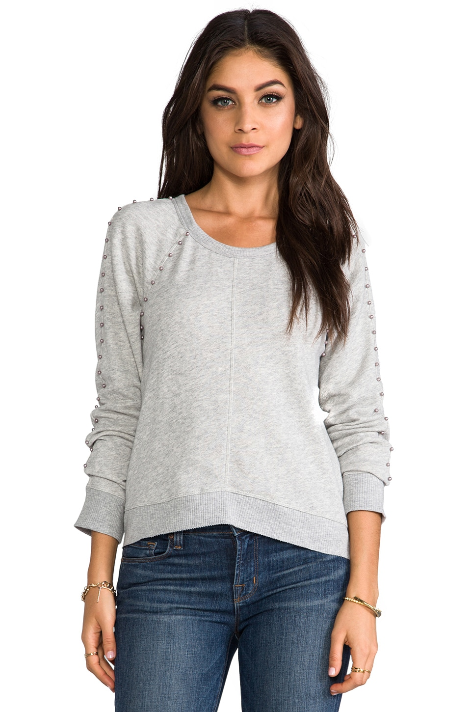 Wilt Pearl Crop Sweatshirt in Grey Heather