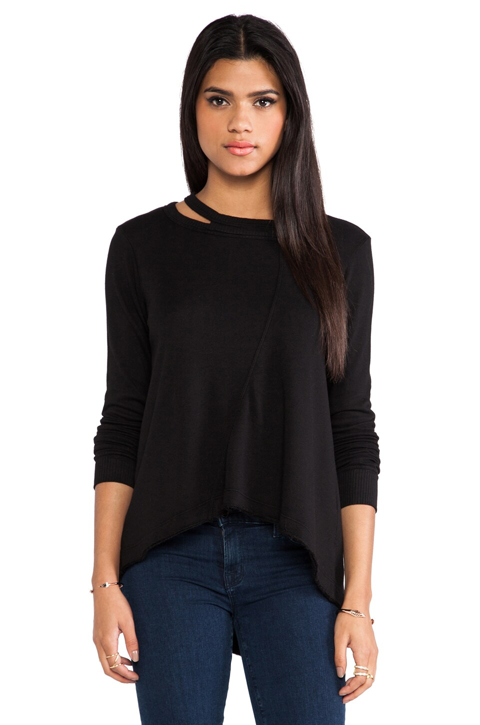 Wilt Raw Split Neck Sweatshirt in Black