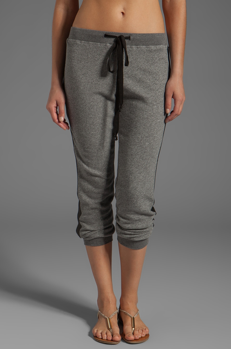 Wilt Vintage French Terry Leather Mix Sweatpants in Charcoal/Black