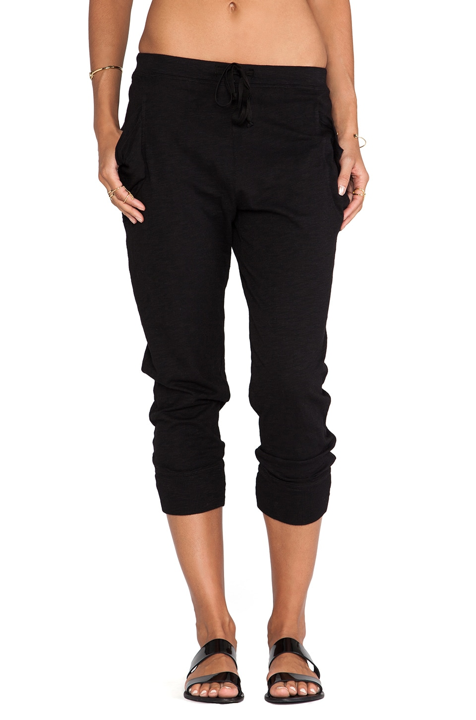Wilt Slub Crop Pocket Pant in Black