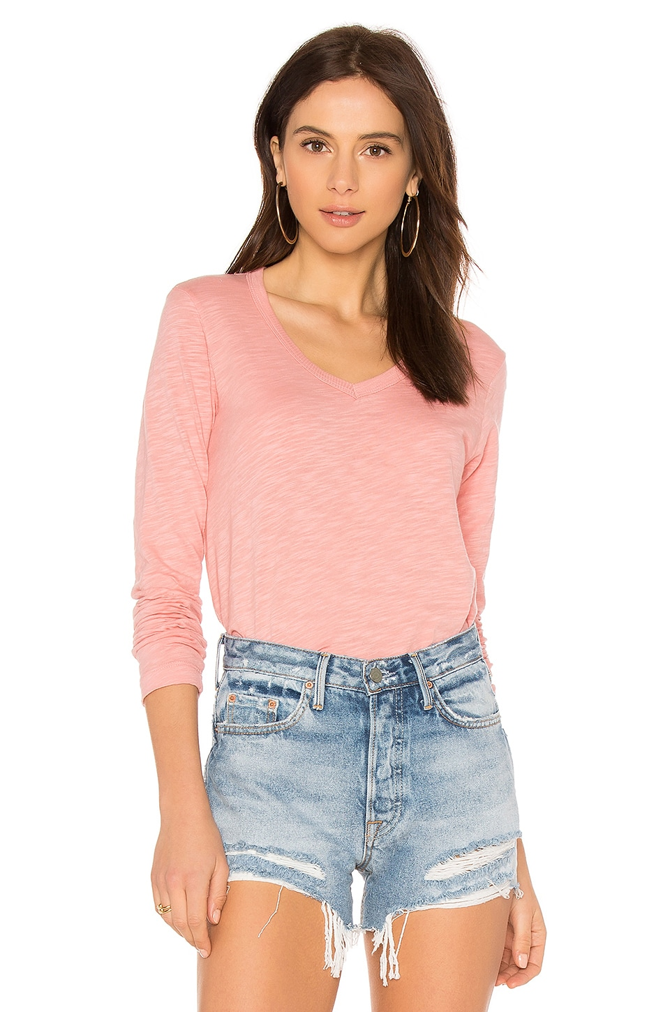 Wilt Long Sleeve Shirttail Foundation Tee in Coral Pink