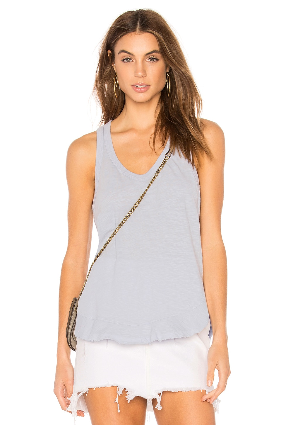 Wilt Ruffle Shirttail Tank in Peri