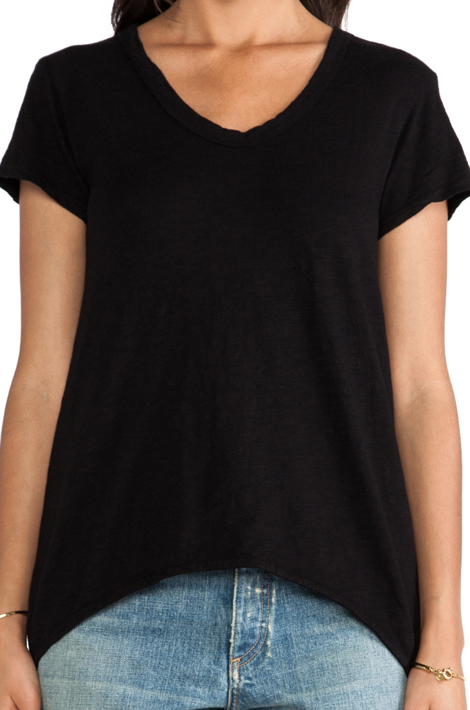 Wilt Slub Shrunken Boyfriend Tee in Black