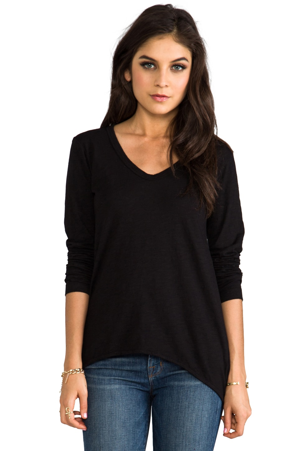 Wilt Slub Shrunken BF Long Sleeve in Black