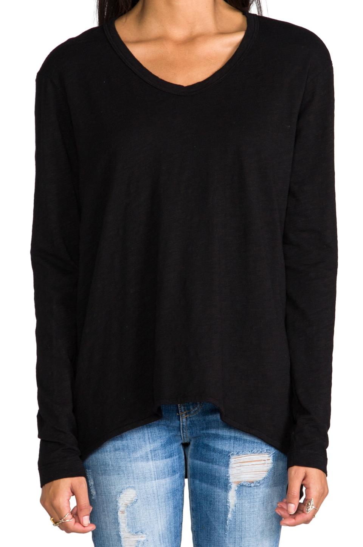 Wilt Slub Jersey Slouchy BF Long Sleeve in Black