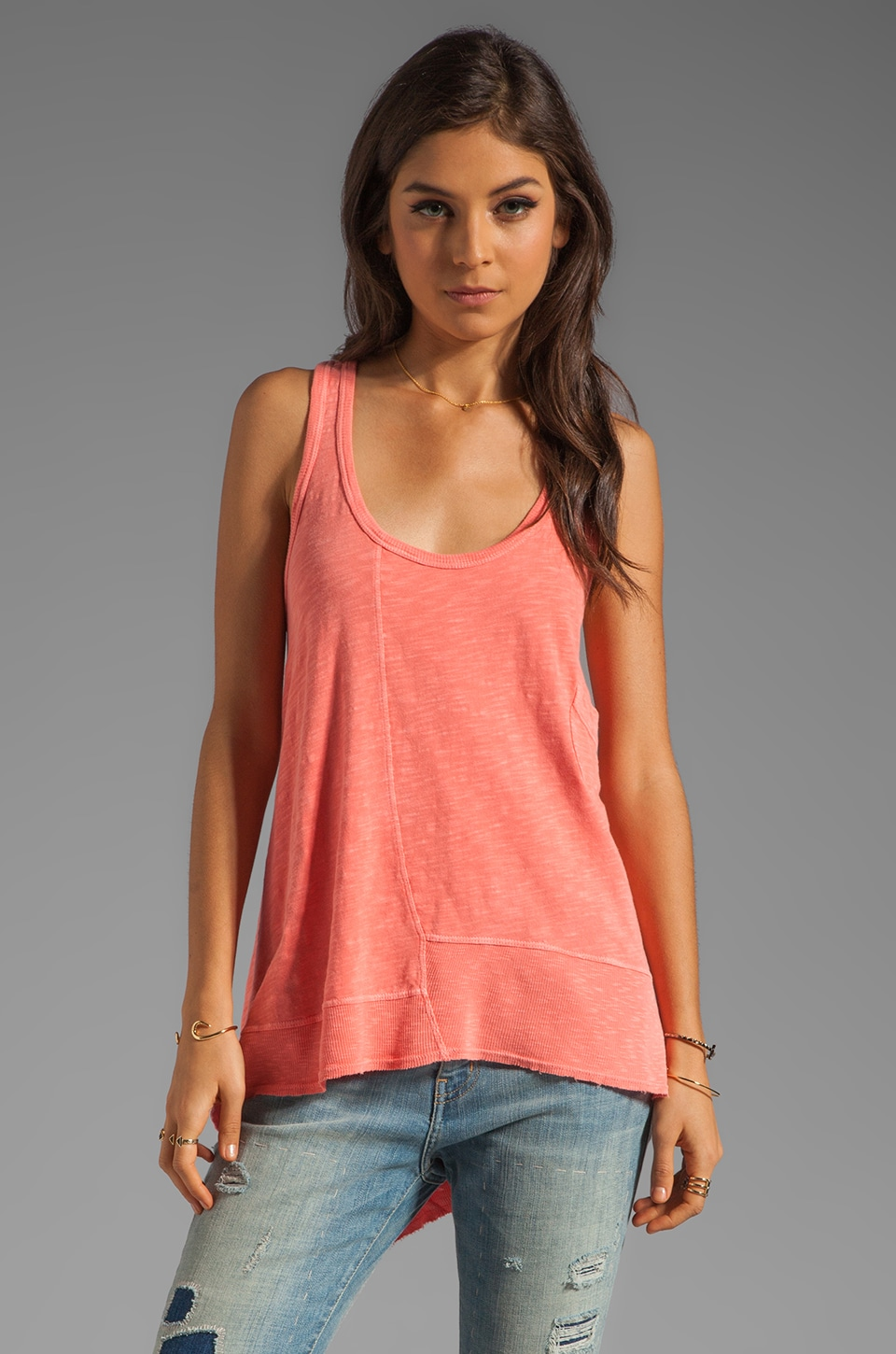 Wilt Slub Pocket Boyfriend Tank in Melon