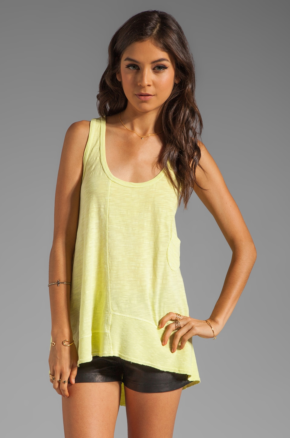 Wilt Slub Pocket Boyfriend Tank in Keylime