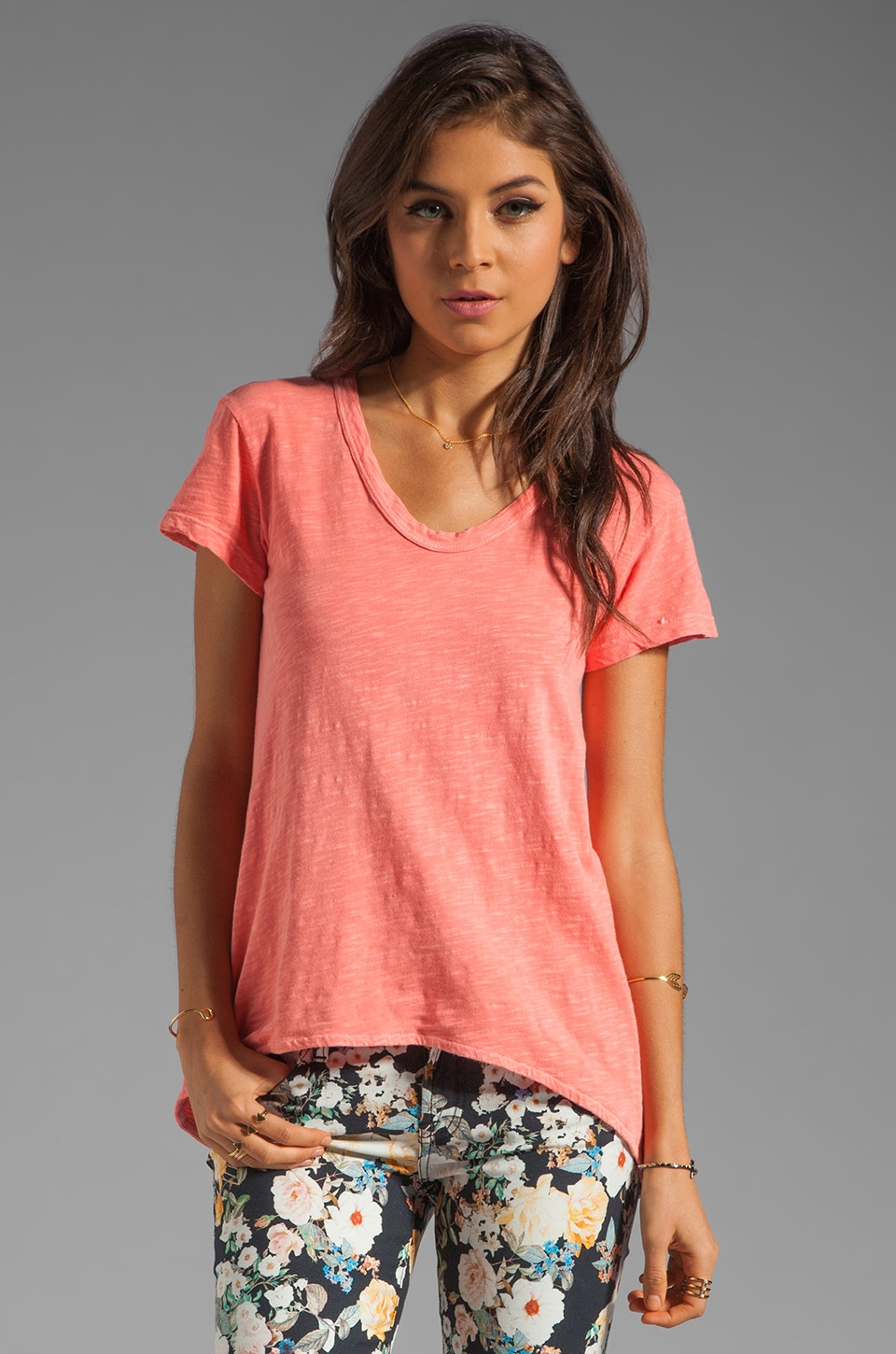 Wilt Slub Shrunken Boyfriend Tee in Melon