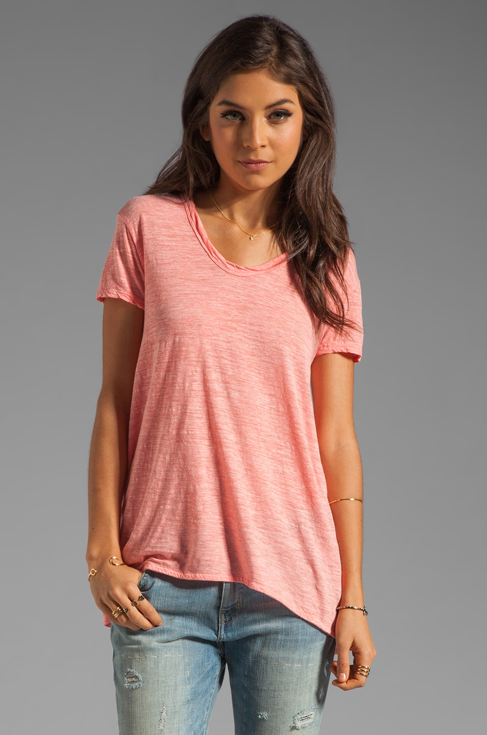 Wilt Heathered Slub Slouchy Boyfriend Tee in Melon Heather