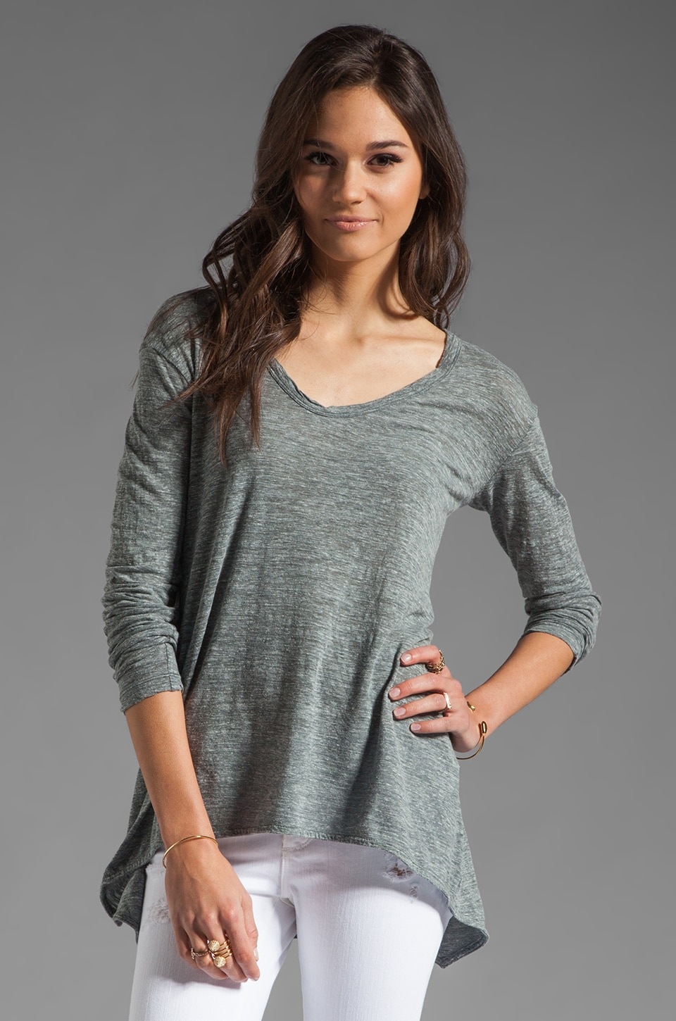 Wilt Heathered Slub Slouchy Boyfriend Long Sleeved Tee in Black Heather