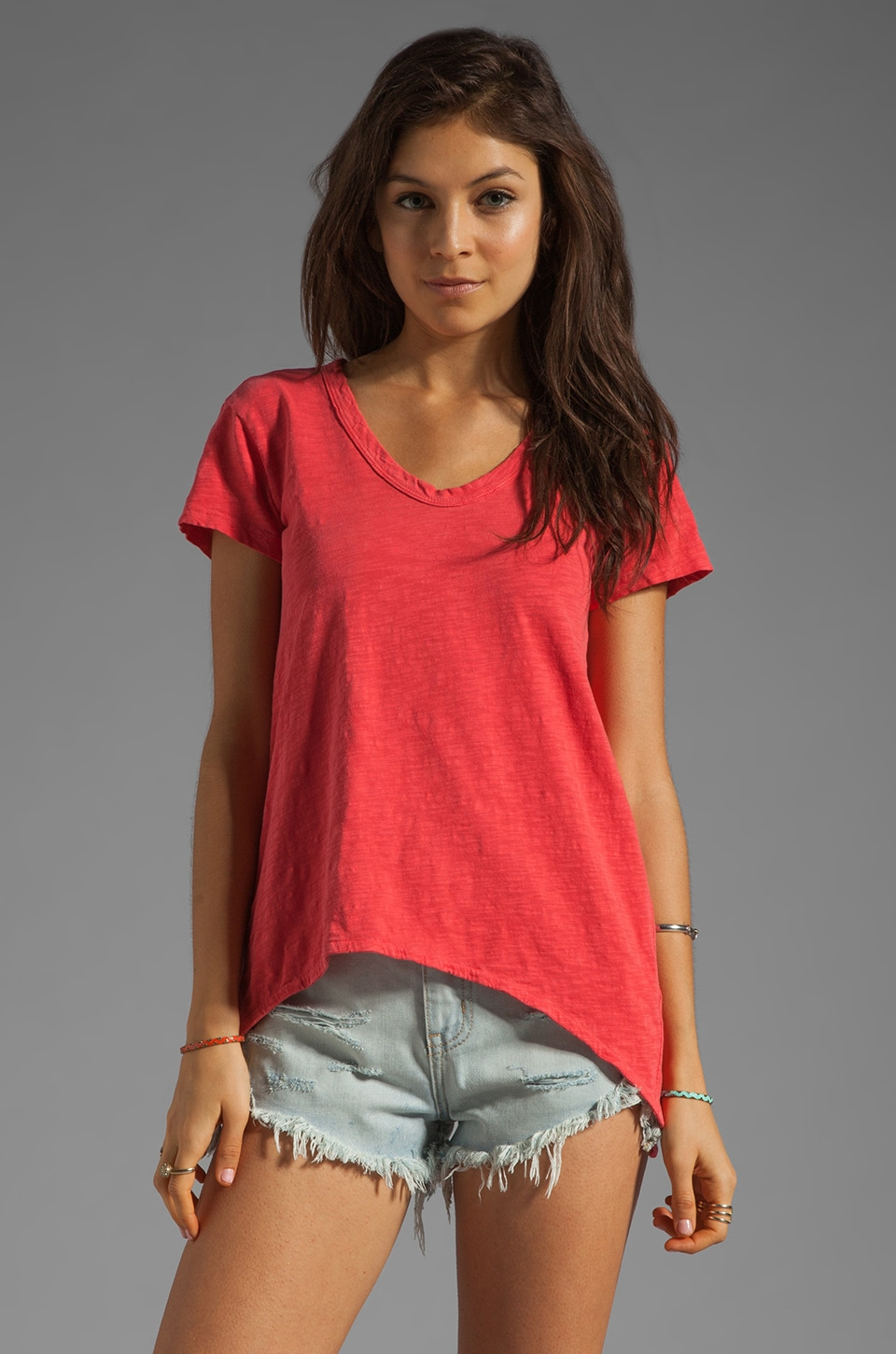 Wilt Slub Jersey Shrunken BF Short Sleeve in Lipstick